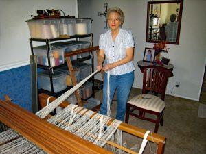 Sharon at Weaving Loom