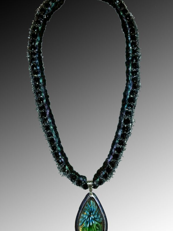 Black-Silver Crocheted, beaded Necklace