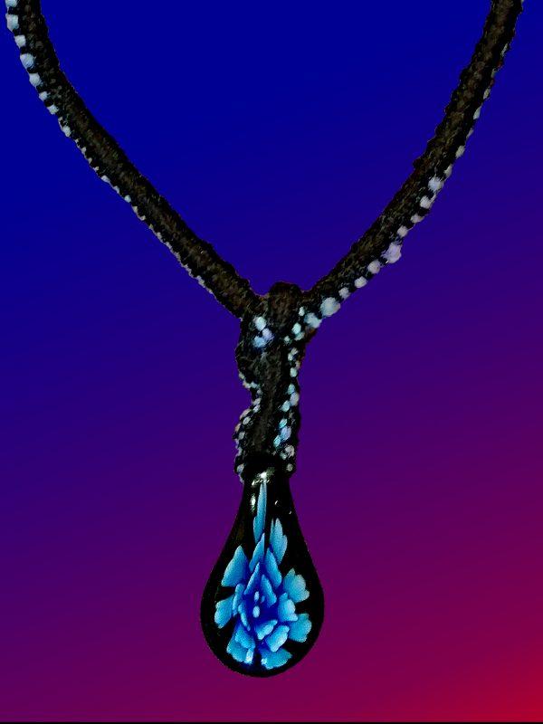 Blue Tear Drop Necklace-closeup
